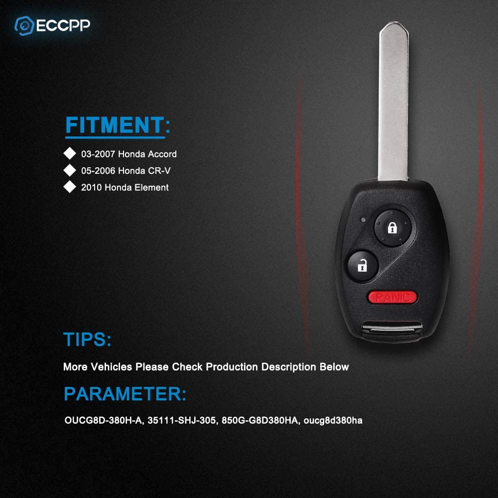 ECCPP Replacement fit for Uncut 313.8MHz Keyless Entry Remote Key Fob Honda Accord//CR-V//Element OUCG8D-380H-A Pack of 1