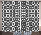 Arabian Decor Collection Geometric Pattern in Arabian Style Islamic Architecture Old Classic City Buildings Living Room Bedroom Curtain 2 Panels Set Grey White