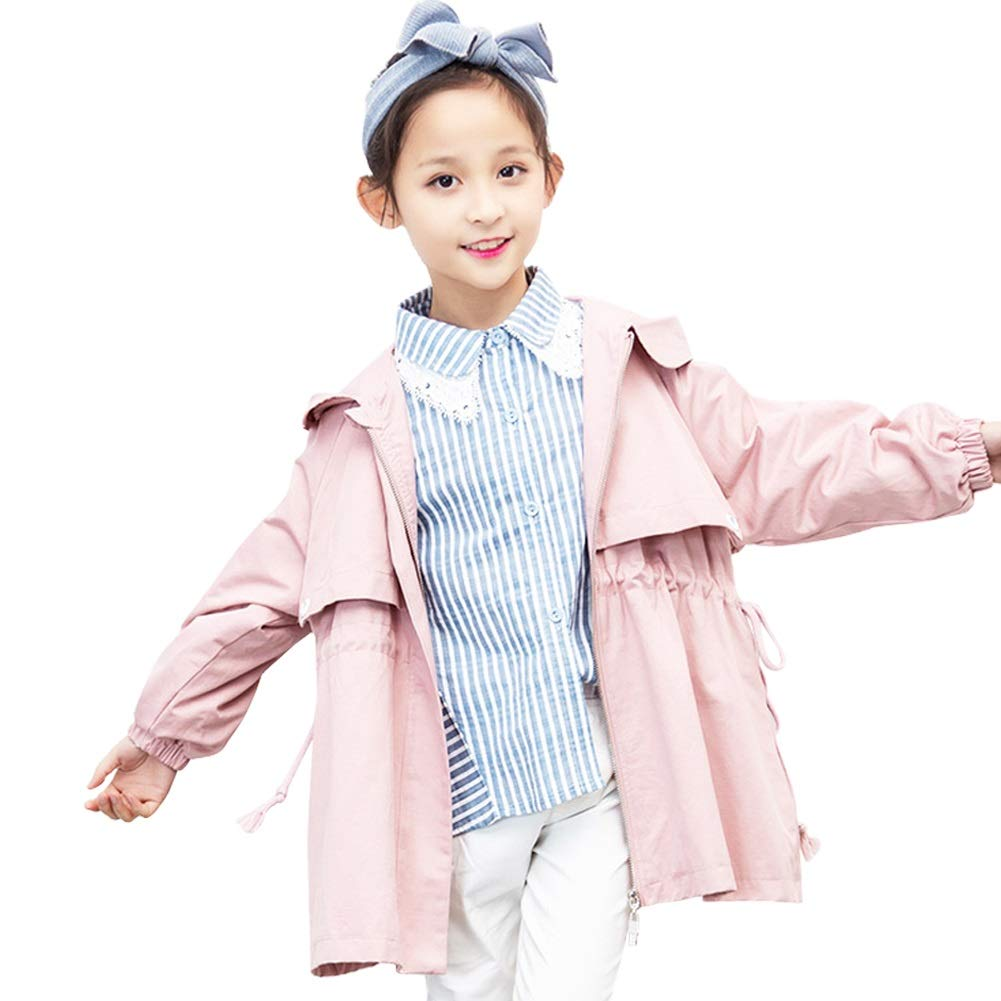Dasior Girls Hooded Trench Coat Light Windproof Windbreaker Outwear Jacket Zip Up