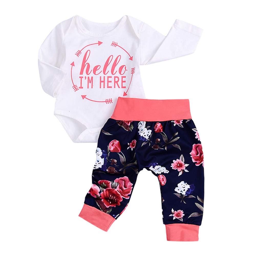 Oldeagle Newborn Infant Baby Girls Hello,I'm Here Letter Print Romper + Pants 2PCs Clothing Set (6M, White)