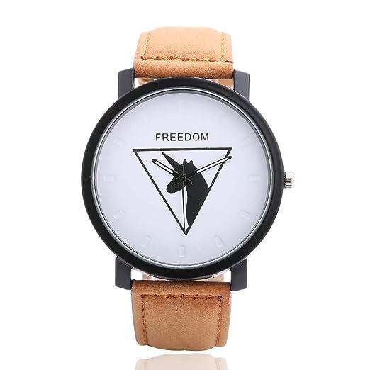 5653a352503b homim Unisex Reloj de pulsera Marrón PU pulsera de piel Unicornio  triangular patrón cartas Blanco Esfera hebilla Reloj de mujer hombre reloj  analógico de ...