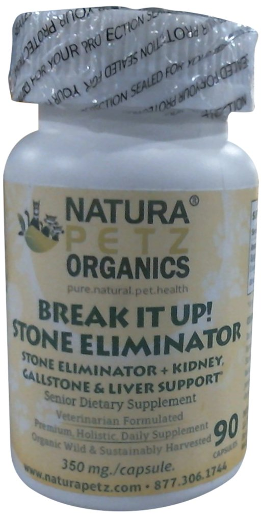 Natura Petz Break It Up! Stone Eliminator (All Types), Kidney, Gallstone and Liver Support for Senior Pets, 90 Capsules, 350mg Per Capsule by Natura Petz