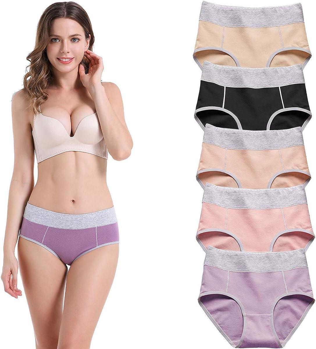 5 Pack YaShaer Womens Mid High Waist Plus Size Cotton Knickers Briefs Underwear Ladies Lingerie Undergarments Full Coverage Panties