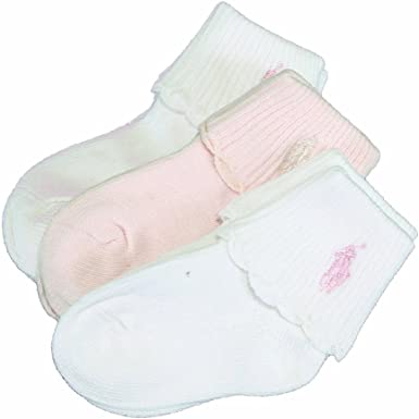 Polo Ralph Lauren Infant Girl/'s 3-Pack White//Pink Scallop Turncuff Socks Sz 0-6M