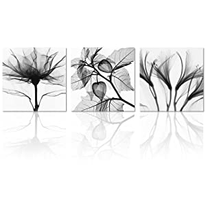 Visual Art Flowers Painting Canvas Prints Wall Decor Black and White Framed and Stretched Images Picture Prints Home Decor Wall Art (Large, Black and White)