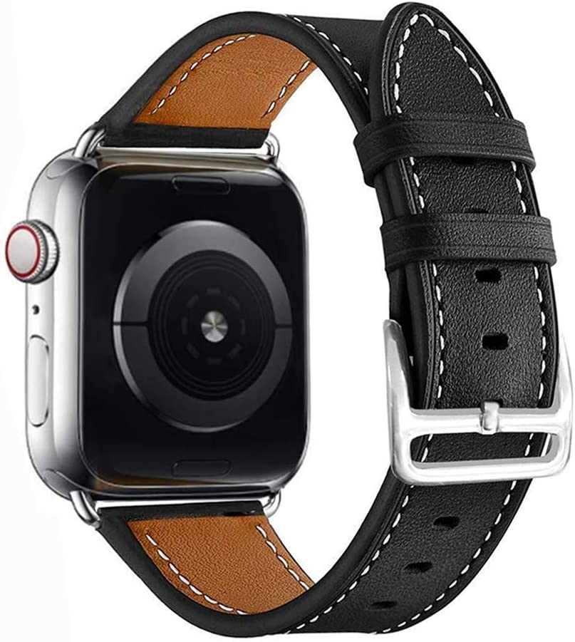 MroTech Compatible with Apple Watch Bands 42mm 44mm Genuine Leather Watch Bands Replacement Strap Compatible with iWatch Series 6/SE Series 5 Series 4 (44mm) Series 3 Series 2 Series 1 (42mm) Black