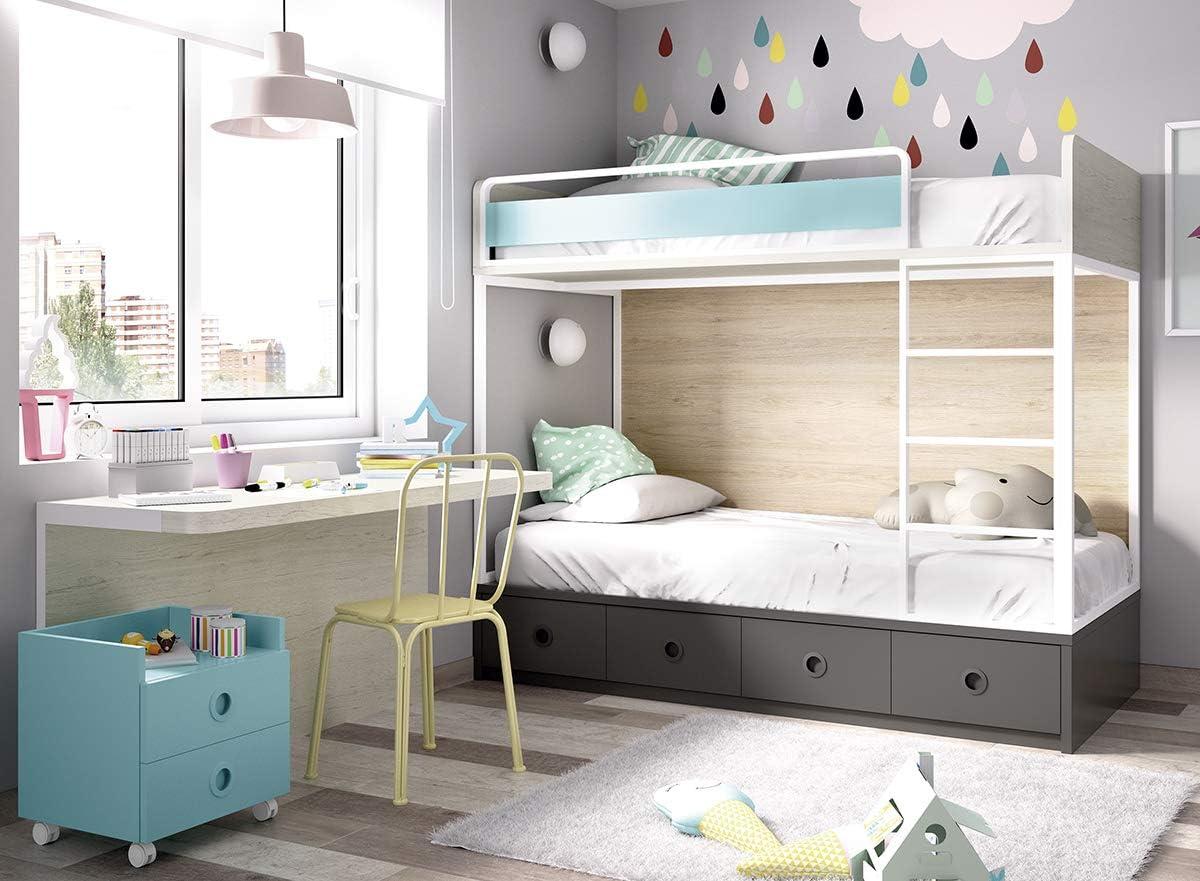 Cama Alta para habitación Infantil Jump 308 con contenedor y Escritorio: Amazon.es: Juguetes y juegos