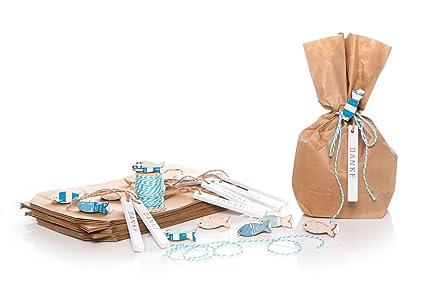 20 unidades de bolsas de papel marrón (14 x 5,6 x 22 cm ...
