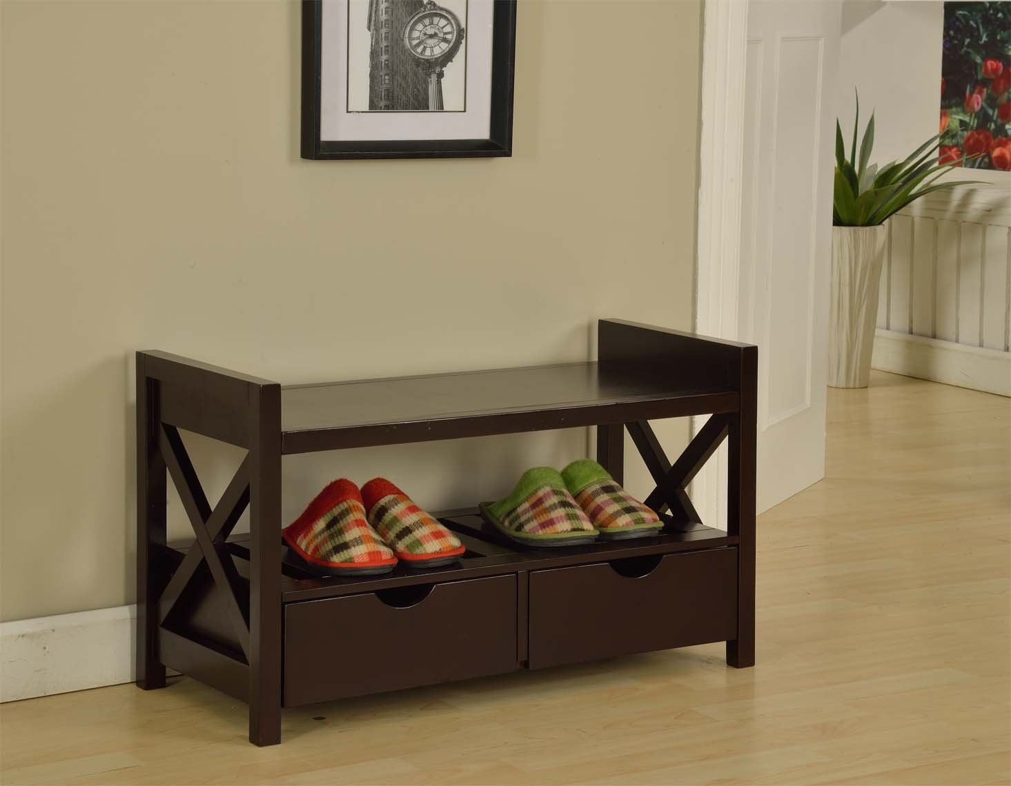 Amazon.com: Kingu0027s Brand Cherry Finish Wood Shoe Storage Bench With  Drawers: Kitchen U0026 Dining