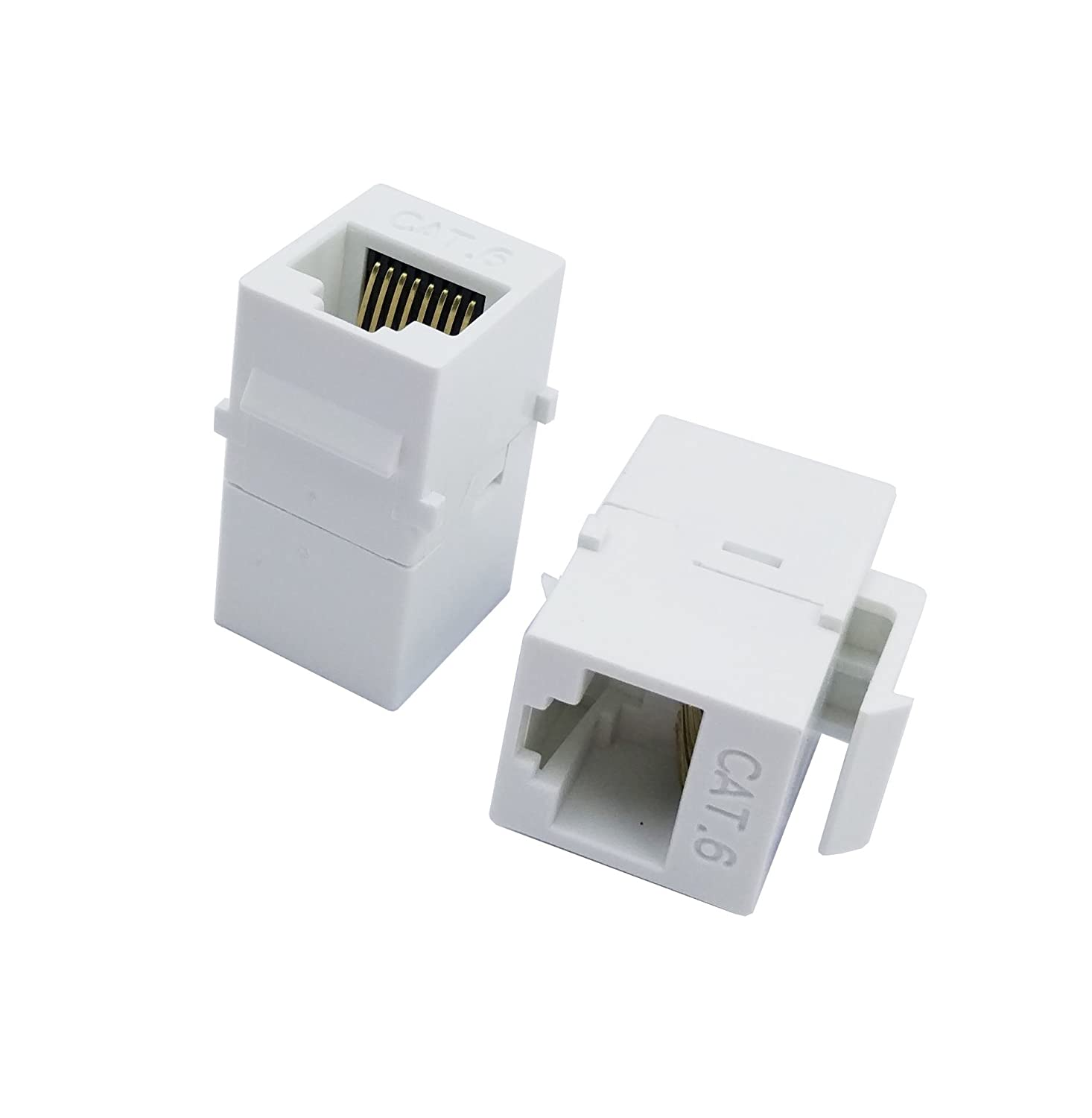 Exuun CAT6 RJ45 Keystone Coupler, White 4328735275 RJ45 Connector CAT6 Female to Female Ethernet Adapter CAT 6//5e//5 Double Jack Ethernet Connector 8P8C Extender Network Cable Inline Modular 2-Pack