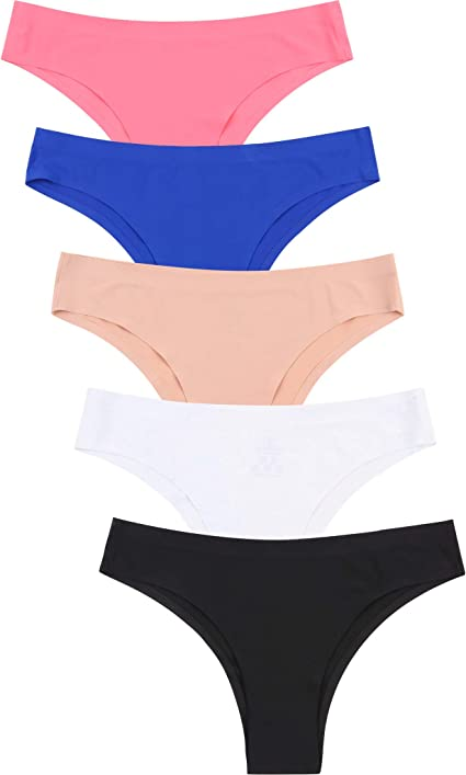 5-Pack Womens Girls Seamless Underwear Cotton Low Waist Brief Evrtyday Panties