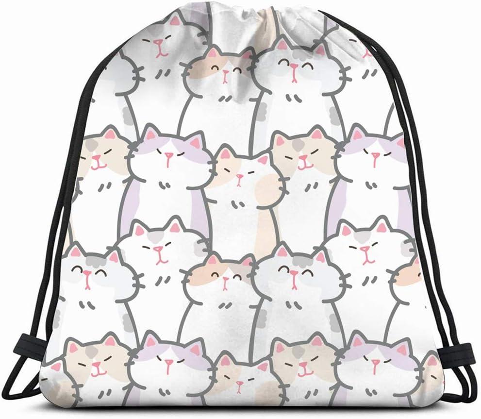 cute pattern cats animals wildlife Drawstring Bag Backpack Bags Bulk Storage Bags For Gym Traveling Drawstring Sackpack 17x14