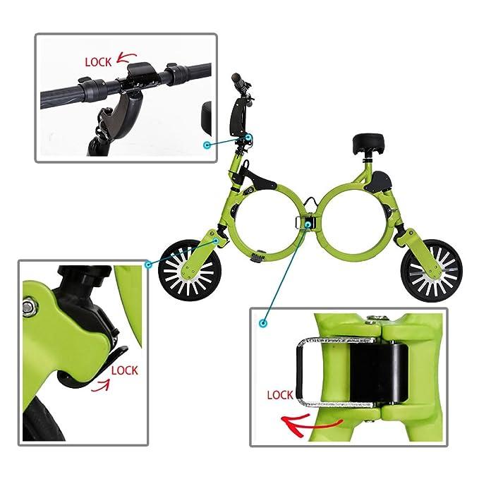 Bicicleta eléctrica plegable con batería recargable de litio 48V (VERDE), Patinete eléctrico plegable NEOFOLD, Scooter electrico Vel max 20km/h.