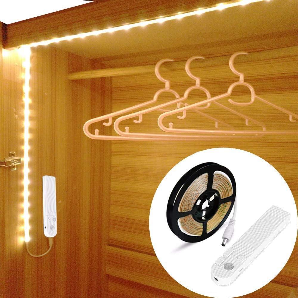 OriFiil 1.5M LED Strip Lights USB Rechargeable,Dimmable,3000K Warm White for Wardrobe,Closet,Under Cabinet,Bathroom,Bedroom,Stairs Motion Sensor Light Strip