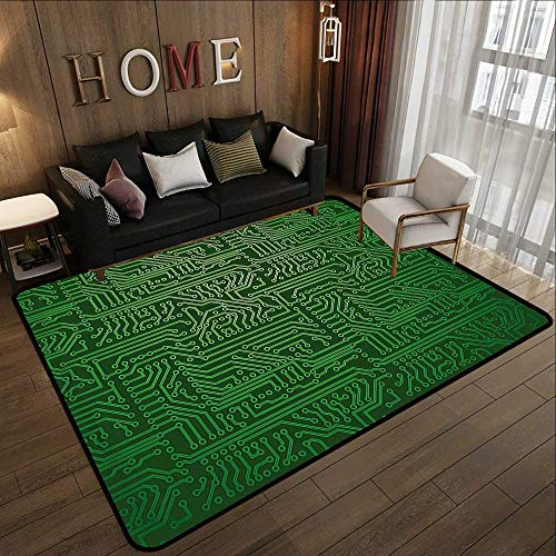 Contemporary Indoor Area Rugs,Digital,Computer Art Backdrop with Circuit Board Diagram Hardware Wire Illustration,Emerald Fern Green 71