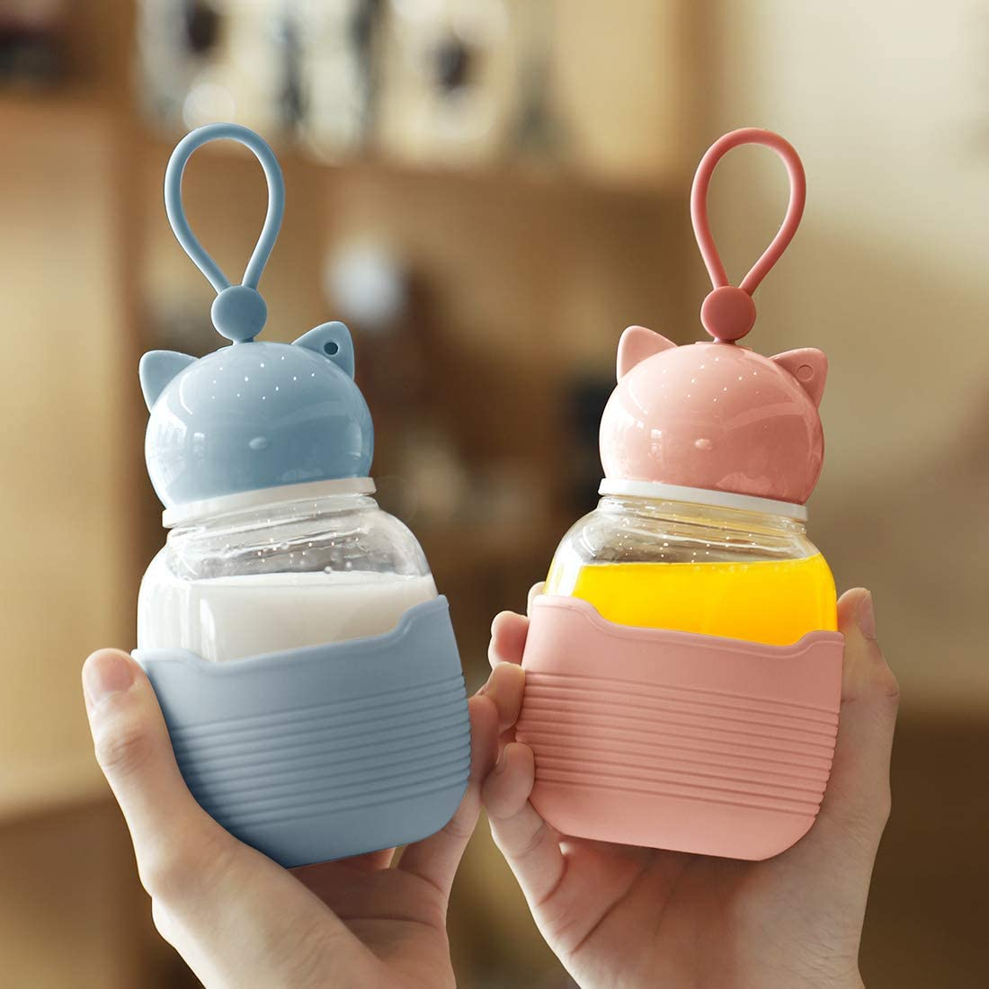 Pink HOLD U FUN Cat Glass Water Bottle with Silicone Sleeve 300ML,Portable Kids Drinking Bottle BPA Free,Leak-Proof Travel Juice Milk Cup for Girls