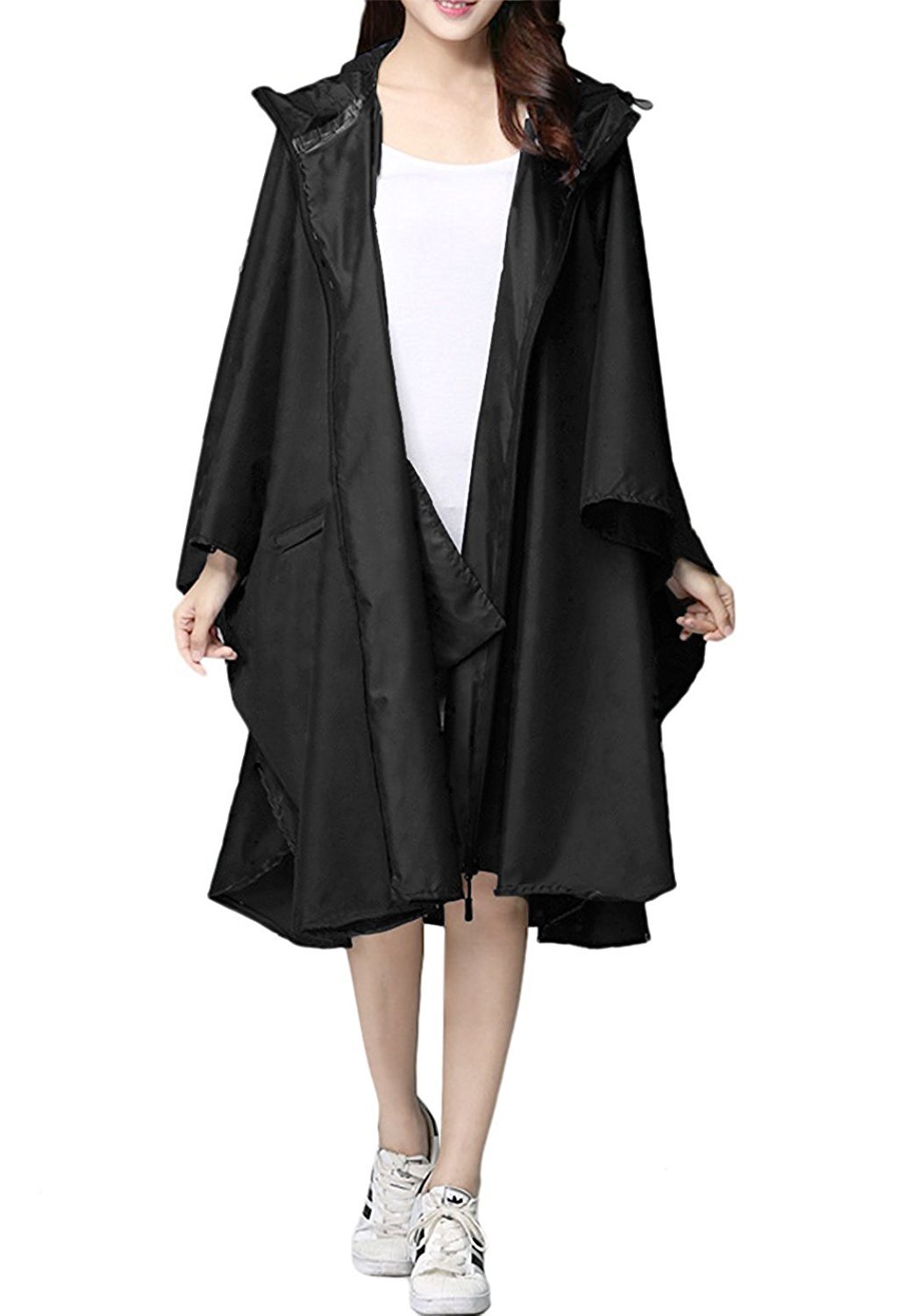 Thomas Home Rain Poncho Packable Rain Jacket Light-Weight Raincoat Hood Trench for Men and Women (Black, L)