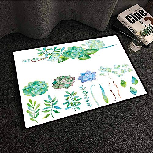 Slip-Resistant Washable Entrance Doormat Succulent,Colorful Floral Collection Leaves and Flowers Watercolor Botany Drawing Print,Multicolor,W24 xL35 Kids Rugs