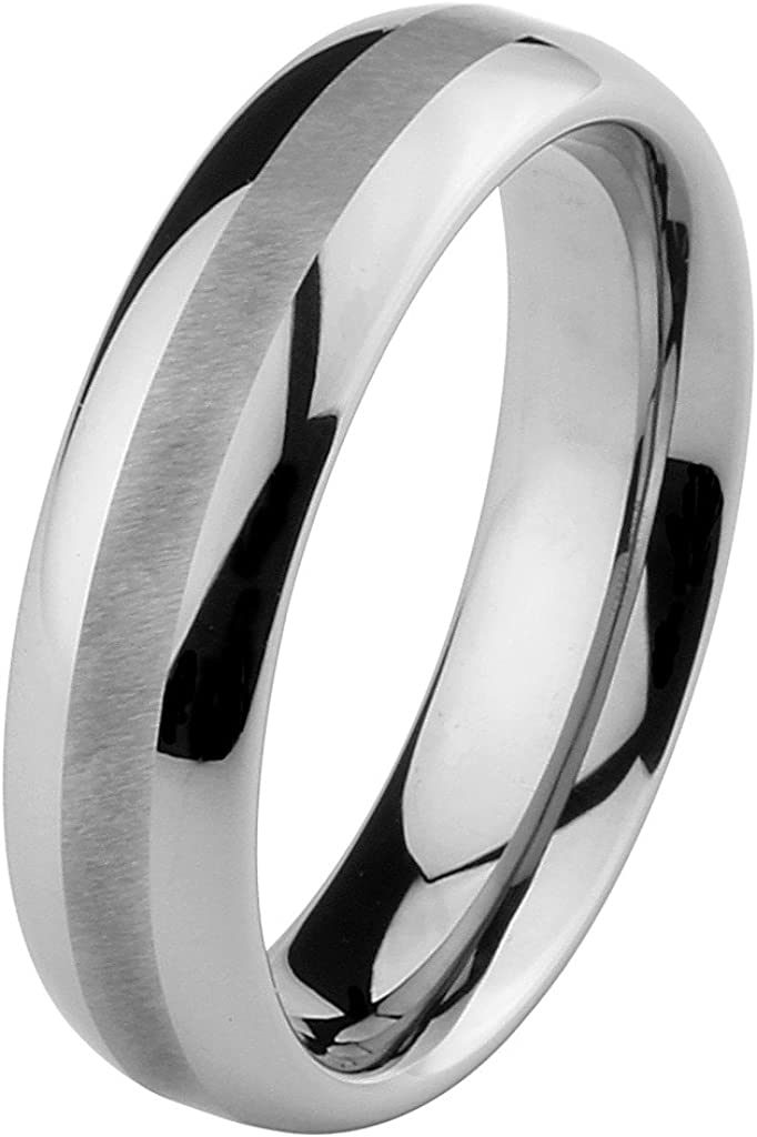 Size 5 to 15 6mm Rounded Edge Mens Tungsten Comfort-fit Wedding Band Ring