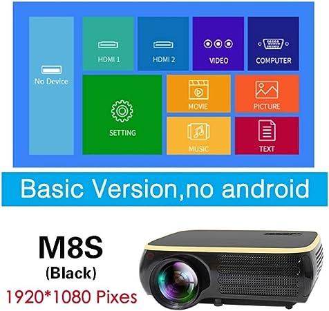 Guangzhouf USB Real televisor Full HD 1080P proyector 4K 6500 lúmenes Proyector Cine Beamer WiFi Bluetooth VGA AV (Color : M8S Black): Amazon.es: Hogar
