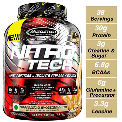 MuscleTech NitroTech Protein Powder Plus Muscle Builder, 100% Whey Protein with Whey Isolate, Chocolate Chip Cookie Dough, 40 Servings (4lbs)