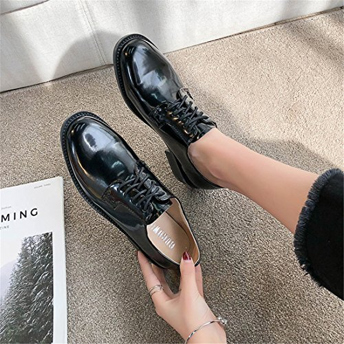 Womens Casual Work Lace-up Classic Multicolor Leather Vintage Oxford Shoes H-7 Black aeFyST
