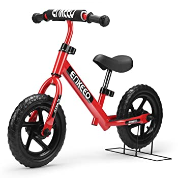 side facing red enkeeo 12 sport balance bike