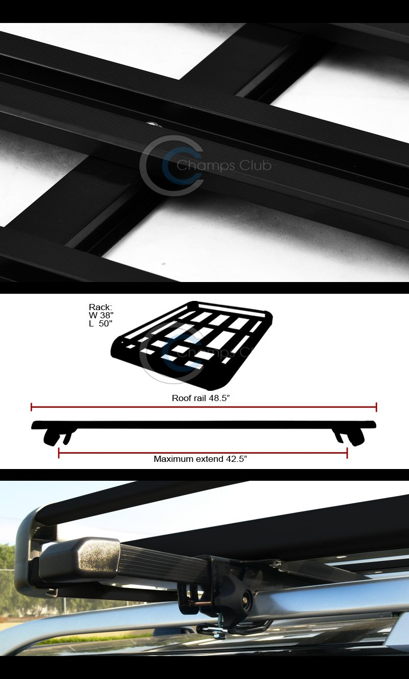 HS Power 49'' BLK SQUARE TYPE ROOF RAIL RACK CROSS BAR KIT+CARGO CARRIER LUGGAGE BASKET C1 by S & T RACING INC