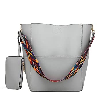 966dd6e3c90 Buy Molodo Women PU Leather Big Shoulder Bag Purse Handbag Tote Bags Grey  Online at Low Prices in India - Amazon.in
