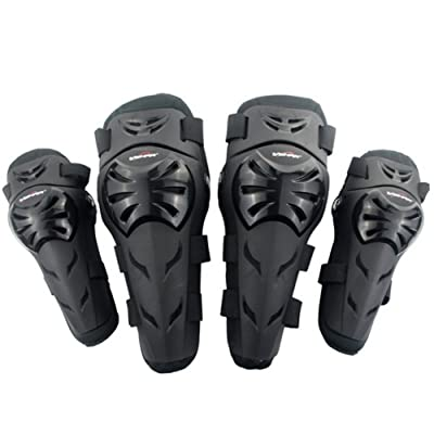 Runspeed Motorcycle Knee Shin Guards Elbow & Knee Pads Protector Flexible Breathable Adjustable Armor Set for Adult Motocross Cycling Racing Mountain Bike, 4 Pieces (Black) : Sports & Outdoors