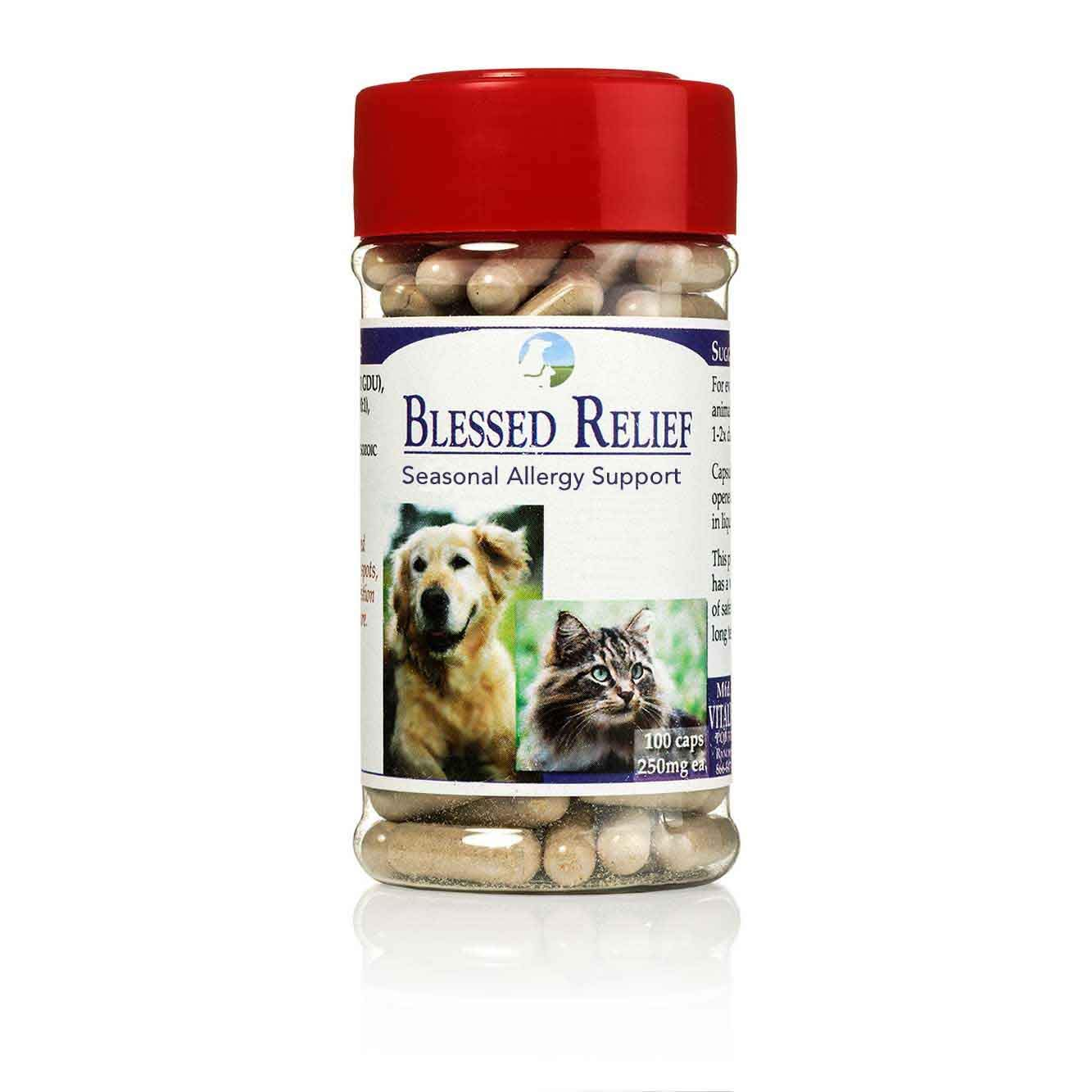 Vitality Science Blessed Relief for Cats Seasonal Allergy Support   100% Safe and Natural   Improves Skin Problems   Promotes Normal Respiratory Function   Reduces Inflammation   Boosts Immune Health by Vitality Science