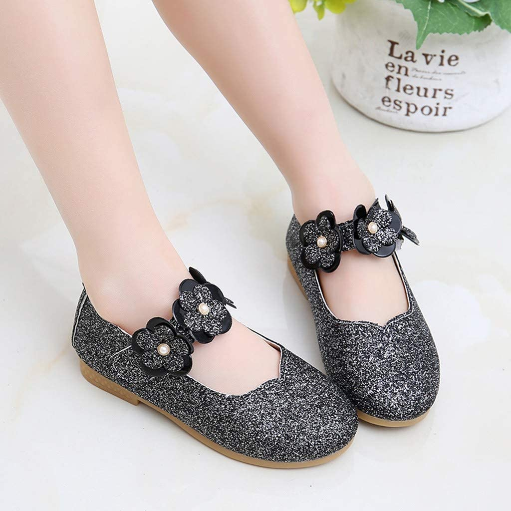 Sinwasd Toddler Shoes Infant Kids Baby Girls Flower Bling Sequins Single Princess Casual Shoes Anti-Slip Soft Sole Girls Trainers Black,2-2.5Years