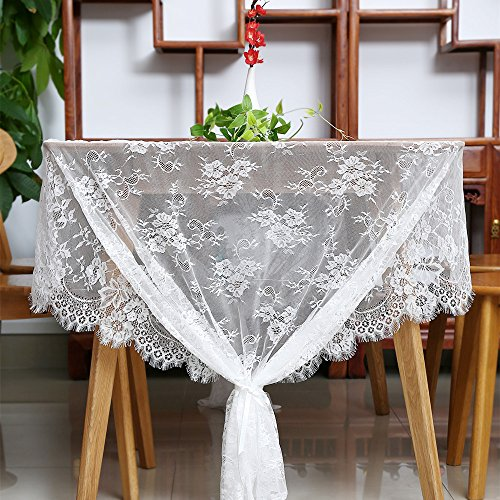 SoarDream White Lace Table Cloth 60x120 Classic Lace Fabric Fringe Edge Floral Tablecloth Party Wedding Home Decorations (Square Table Cloth Lace)