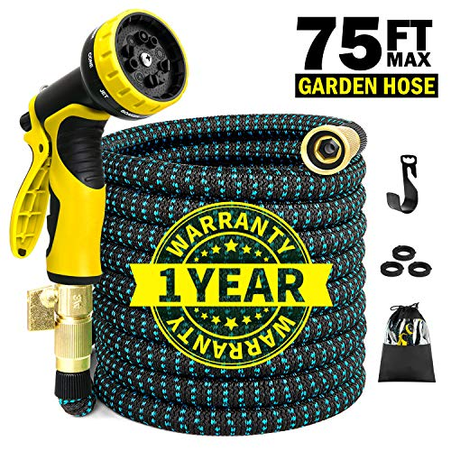 STAR FOREST 75ft Expandable Garden Water Hose, Flex Hose with Double Latex Core,10-Pattern Spray Nozzle,Lightweight Duty Flexible Leakproof Hose,Extra Strength Fabric Protection