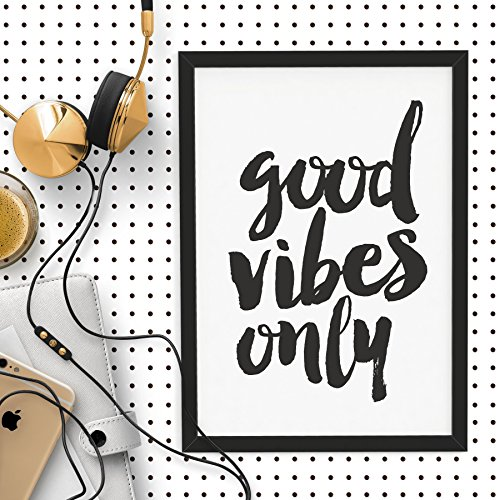 Good Vibes Only Inspirational Print Home Decor Typography Poster Wall Art