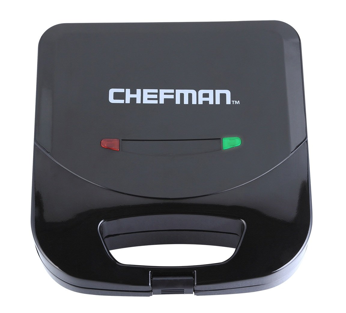 Chefman Dual Sandwich Maker Press, Non-Stick Surface, Fits 2 Sandwiches, Cuts Into Triangles, Easy Clean, Cool Touch Handles, Black