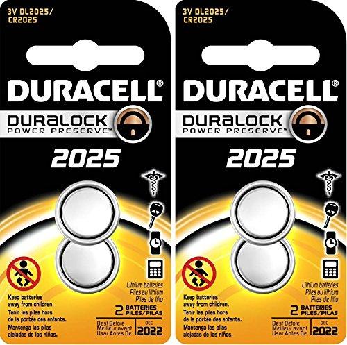 - 4 (2x2) Duracell CR2025 3V BATTERIES