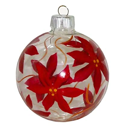 ArtisanStreet's Red Poinsettia Christmas Ornament. Hand Painted on Clear  Glass - Amazon.com: ArtisanStreet's Red Poinsettia Christmas Ornament. Hand
