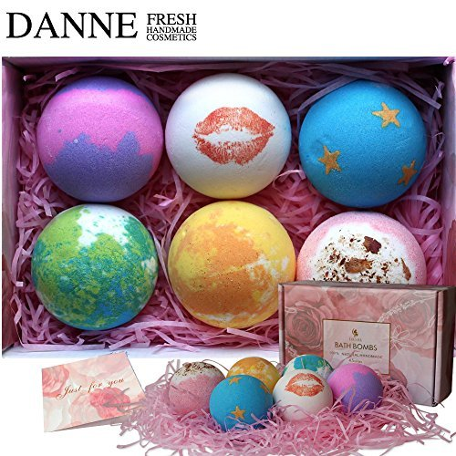 Danne Best Bath Bombs Set, 4.5OZ X 6 Lush Bath Bombs Gift Set,Handmade And Natural Organic Essential Oils, Dry Flowers Bath Fizzies For Moisturizing Skin and Relaxation. Women Gift Ideas,Vegan Bir