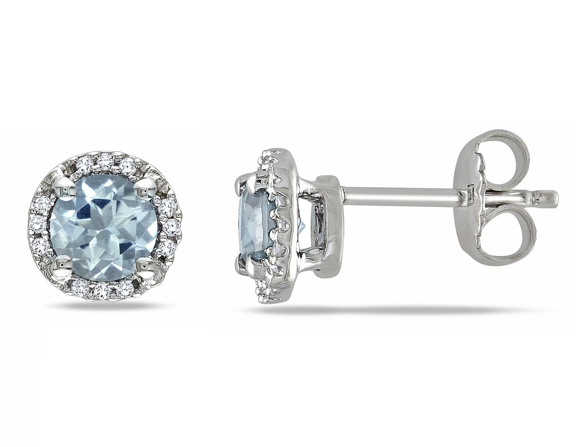 Aquamarine Halo Earrings 4/5 Carat (ctw) with Diamonds in Sterling Silver