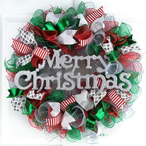 Merry Christmas Wreath   Red Emerald Green Silver Mesh Monogram Initial Front Door Wreath : C4