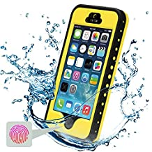 iPhone 5S Waterproof Case, Febe iPhone 5 Waterproof Case - Protective Cases Cover for Apple iPhone 5S 5 iPhone 5 Case / iPhone 5S Case with Built-in Ultra Clear Screen Protector - Slimmest Profile with Capability of WaterPROOF, ShockPROOF, SandPROOF, SnowPROOF [Works with TouchID] - Yellow