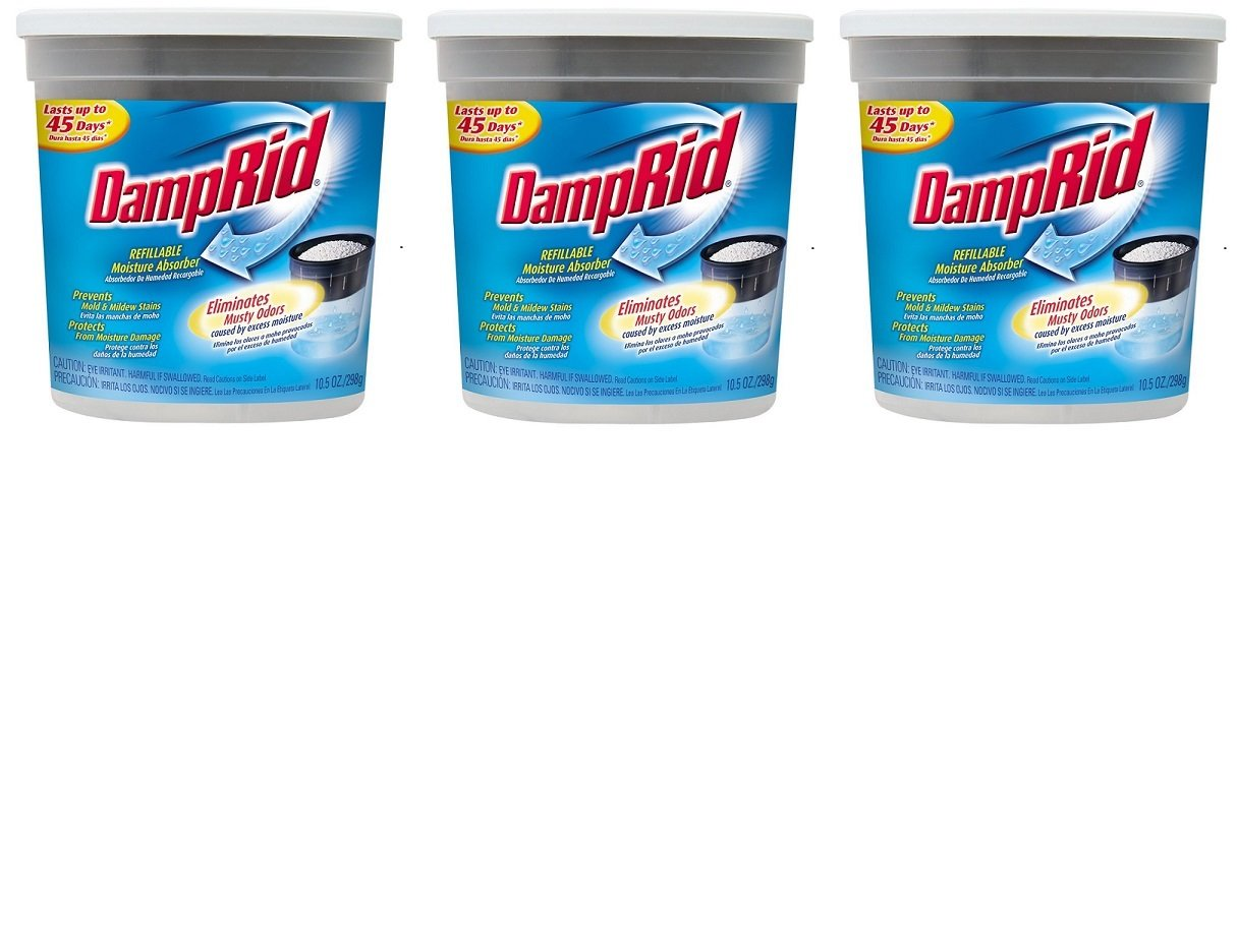 DampRid Refillable Moisture Absorber, Fragrance Free, 10.5-Ounce (Pack of 3) by DampRid