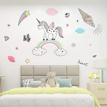 Name Sleeping Unicorn Wall Sticker Decal Personalised Nursery Kid Baby Bedroom
