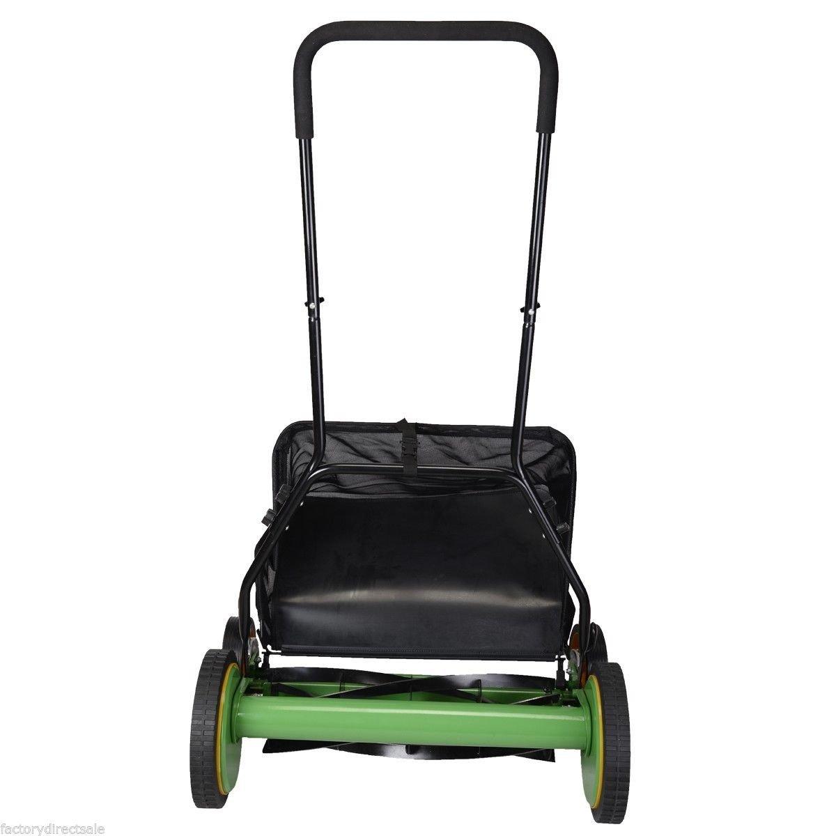 "20"" Height Adjustable Classic Hand Push Lawn Mower Reel Grass Catcher"
