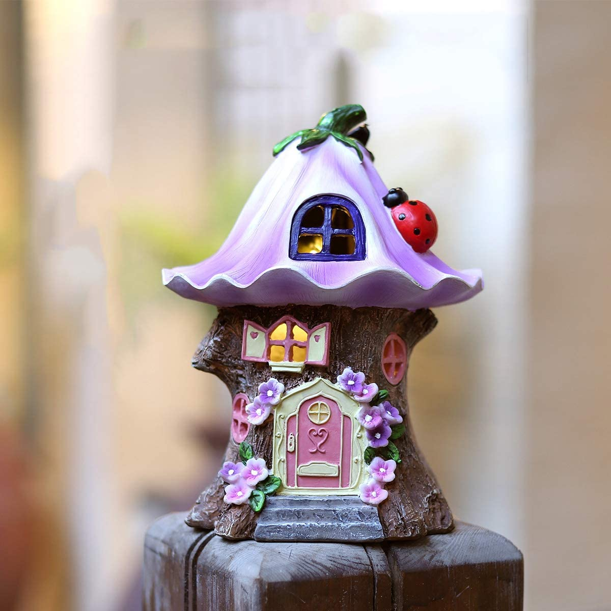 Trasfit Fairy Garden Statue House Figurine, Lovely Purple Flowers Tree House with Solar LED Lights for Indoor Outdoor Patio Yard Lawn Ornaments Gift (Purple Flowers Tree House)