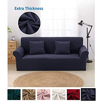 Pleasant Argstar Premium Knit Loveseat Cover Elastic Slipcover For Love Seat Navy Blue Furniture Protector Andrewgaddart Wooden Chair Designs For Living Room Andrewgaddartcom