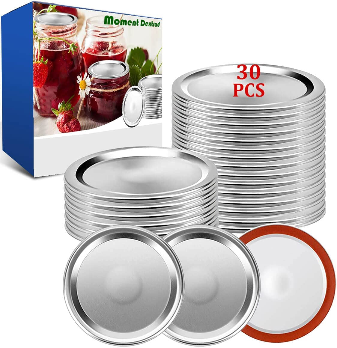 Canning Lids,Mason Jar Lids 30 PCS,Regular Mouth Canning Lids,Premium Metal Lid Split-Type with Airtight Seal and Leak proof,Use for Home Canning & Food Storage (Silver, 30 Count)