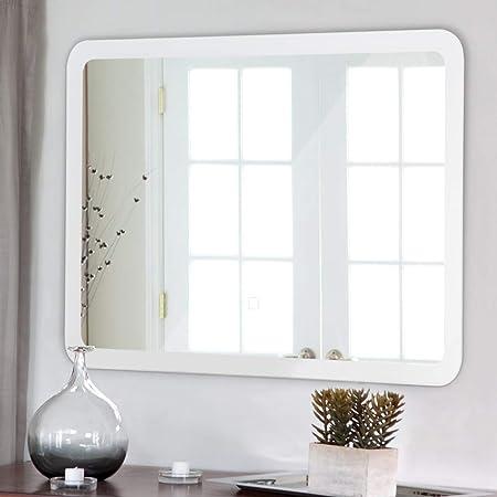 Tangkula LED Bathroom Mirror Rounded Arc Corner Rectangle Wall-Mounted Makeup Vanity Mirror Led Light Illuminated Lightning Bath Rectangle Hanging Polished Edge