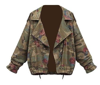 f2e93ca0ad1c0 Sayhi Womens Coat Long-Sleeve Camo Cargo Classic Plus Size Jackets Camo S